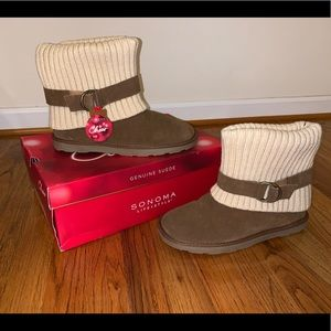 Genuine Suede Tan/Brown and White Boots